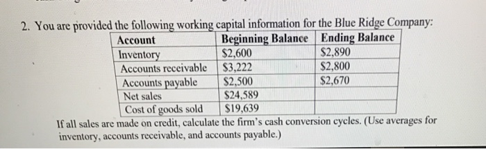 Solved: 2  You Are Provided The Following Working Capital