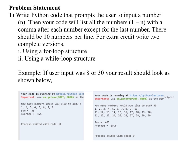 Solved: Problem Statement 1) Write Python Code That Prompt