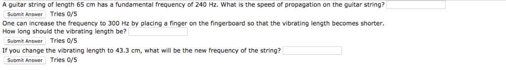A guitar string of length 65 cm has a fundamental frequency of 240 Hz. What is the speed of propagation on the guitar string?