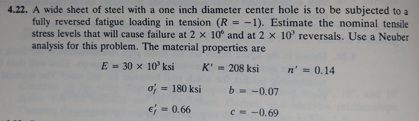 4.22. A wide sheet of steel with a one inch diameter center hole is to be subjected to a fully reversed fatigue loading in tension (R1). Estimate the nominal tensile stress levels that will cause failure at 2 x 10° and at 2 x 103 reversals. Use a Neuber analysis for this problem. The material properties are E 30 103 ksi K 208 ksi n,-0.14 of 180 ksi b -0.07 e 0.66 c =-0.69