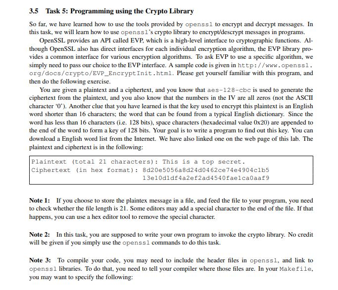 3 5 Task 5: Programming Using The Crypto Library S    | Chegg com