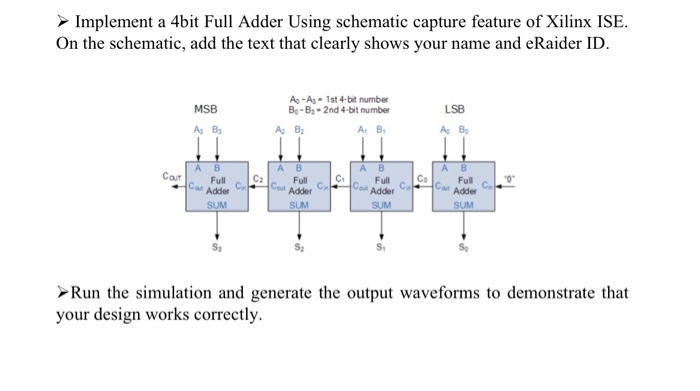 Solved: Implement A 4bit Full Adder Using Schematic Captur ... on