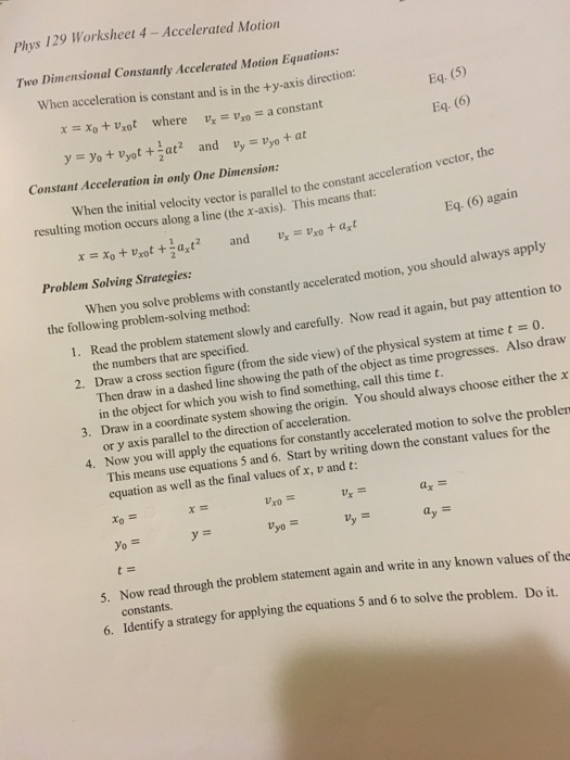 Solved: Phys 129 Worksheet 4 - Accelerated Motion Two Dime ...