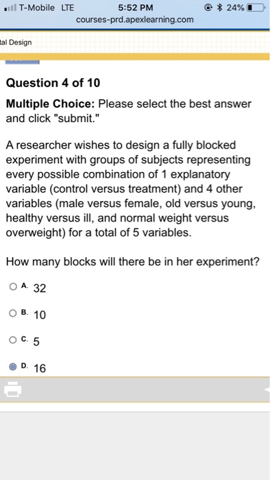 d84909cfa Solved  Which Of The Following Principles Of Experiments D ...