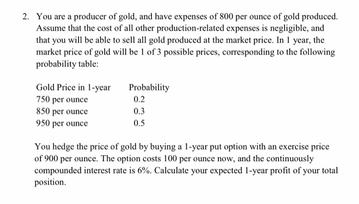 You Are A Producer Of Gold And Have Expenses 800 Per Ounce