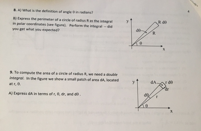 Solved 8 A What Is The Definition Of Angle In Radians