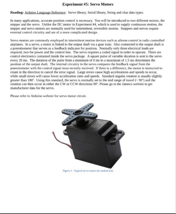 Experiment #5: Servo Motors Reading: Arduino Langu