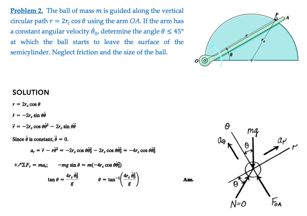 Problem 2. The ball of mass m is guided along the vertical circular path r-2n cos θ using the arm OA. If the arm has a constant angular velocity θ0, determine the angle θ 45° at which the ball starts toleave the surface of the semicylinder. Neglect friction and the size of the ball SOLUTION Since θ is constant, θ 0.