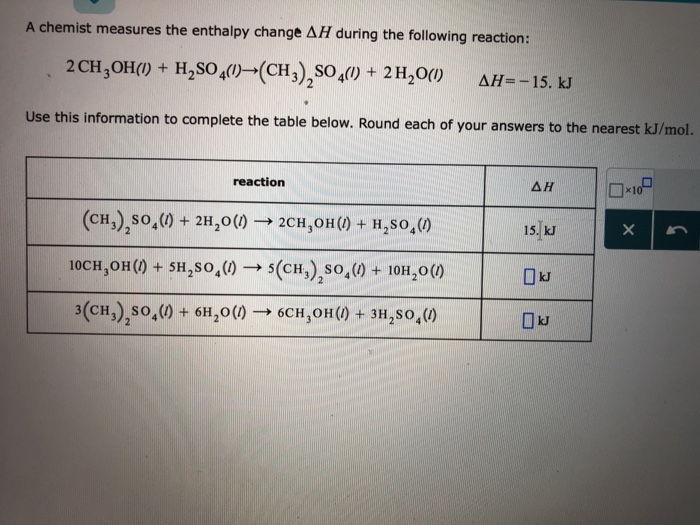Solved: A Chemist Measures The Enthalpy Change AI During T ...