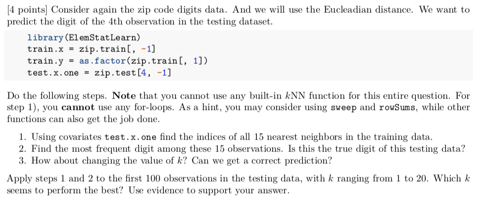 4 Points] Consider Again The Zip Code Digits Data