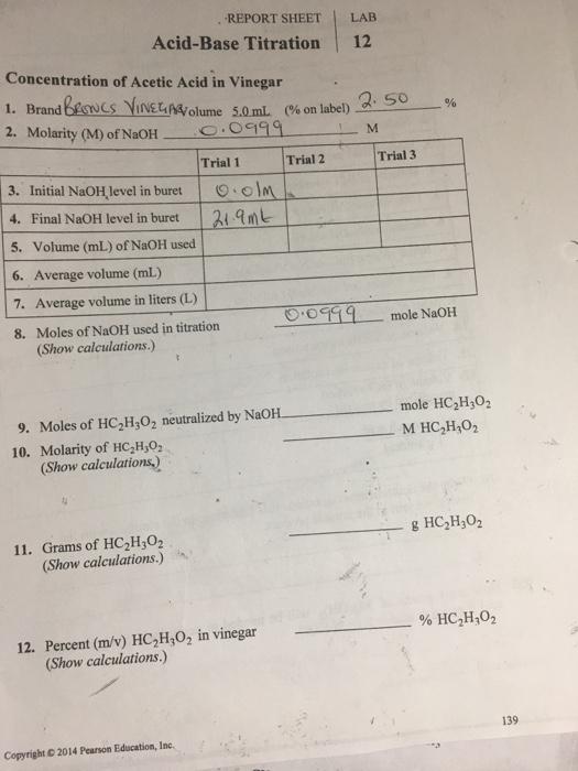 Solved: REPORT SHEET LAB Acid-Base Titration 12 Concentrat ...