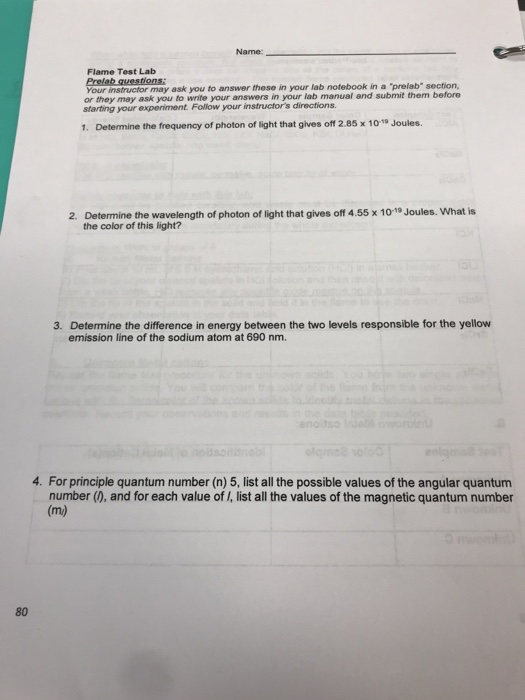 Flame test lab answers