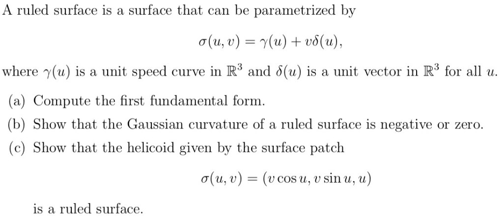 A Ruled Surface Is A Surface That Can Be Parametri