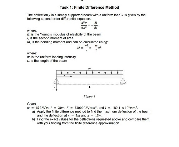Solved: Task 1: Finite Difference Method The Deflection Y