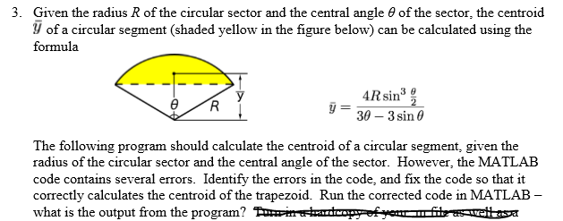 3  Given The Radius R Of The Circular Sector And T
