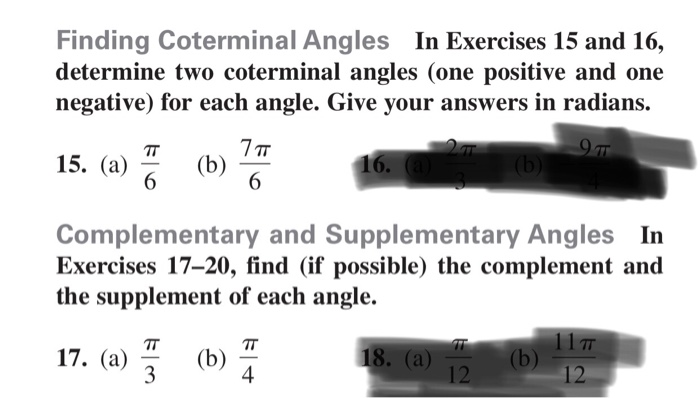 Solved: Finding Coterminal Angles In Exercises 15 And 16