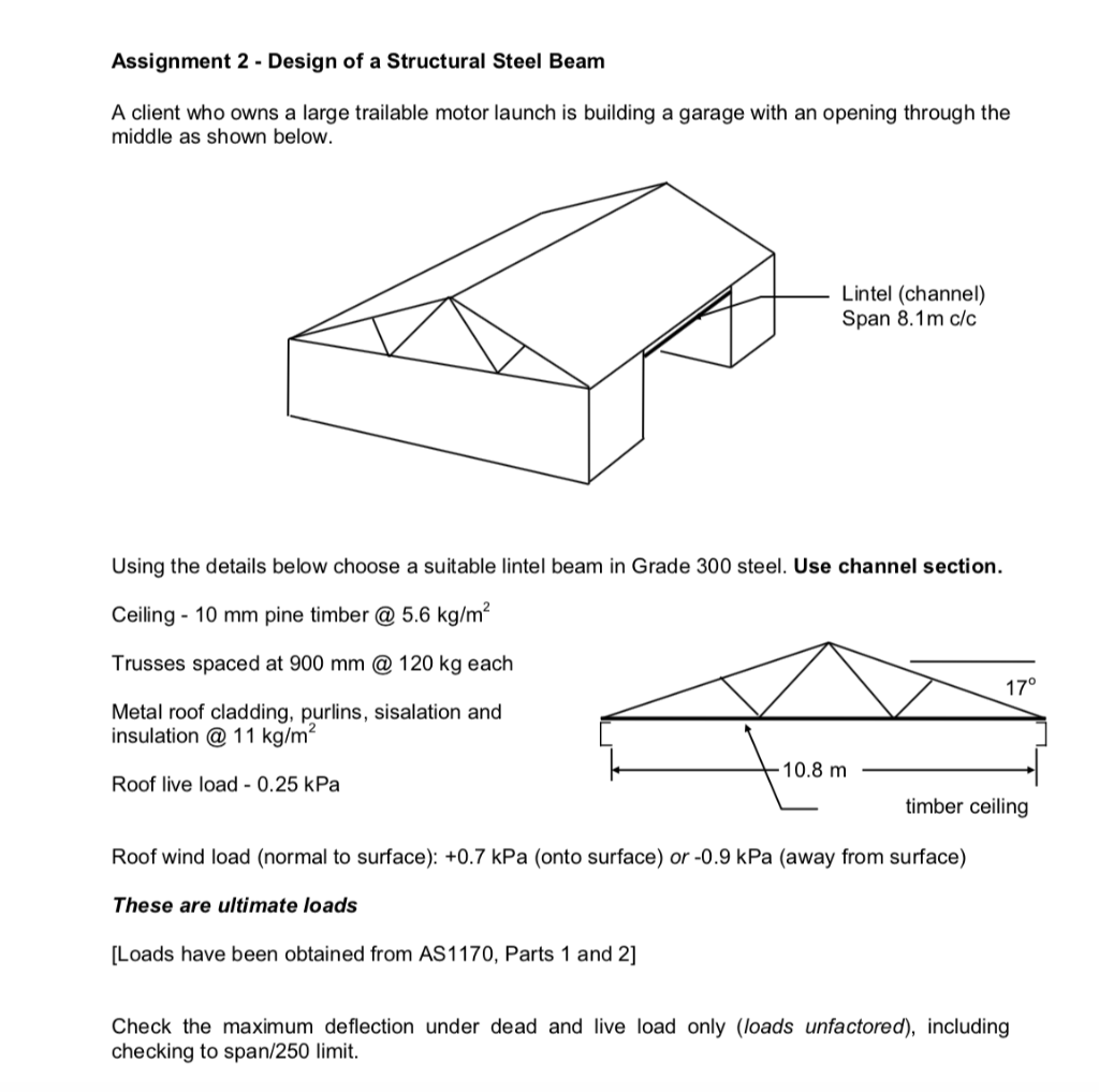 Assignment 2 - Design Of A Structural Steel Beam A    | Chegg com