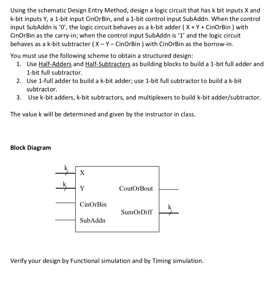 Solved Using The Schematic Design Entry Method A Logic Diagram Simulator Circuit That Has K Bit Inputs