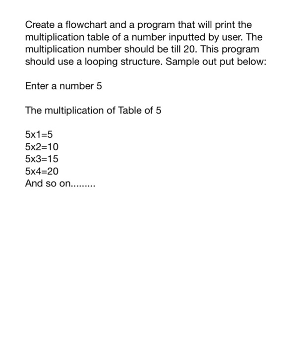 Solved Create A Flowchart And A Program That Will Print T