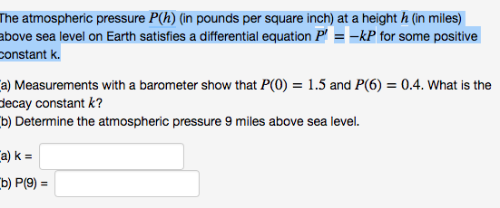 solved the atmospheric pressure p h in pounds per squar
