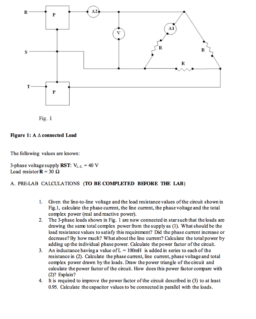 Solved: A2 A1 Fig  I Figure 1: A A Connected Load The Foll