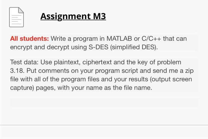 Assignment M3 All Students: Write A Program In MAT    | Chegg com
