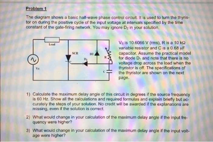 Solved Problem 1 The Diagram Shows A Basic Half Wave Phas