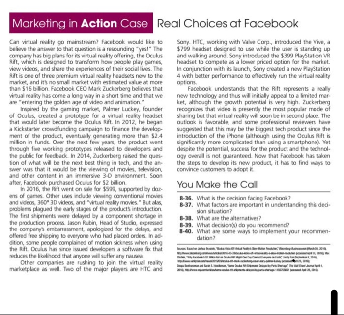 Marketing In Action Case Real Choices At Facebook