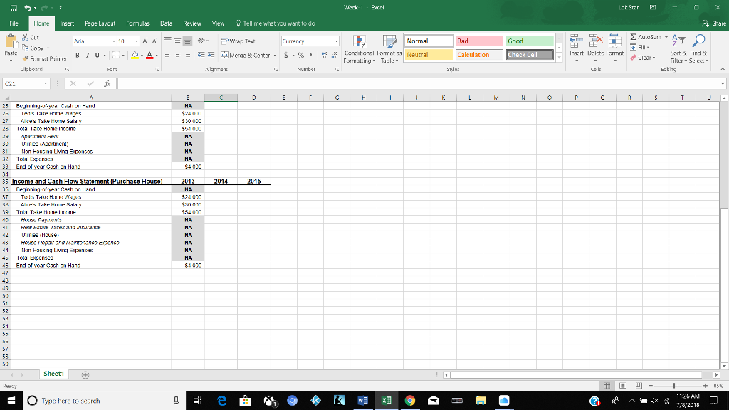 for week 1 use the excel spreadsheet using 5 in chegg com