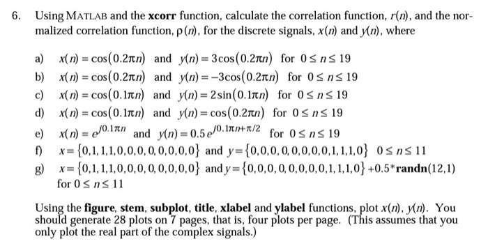 Solved: 6  Using MATLAB And The Xcorr Function, Calculate