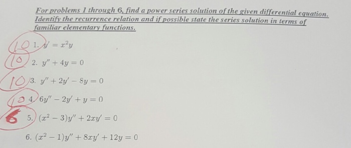 Solved: For Problems 1 Through 6, Find A Power Series Solu