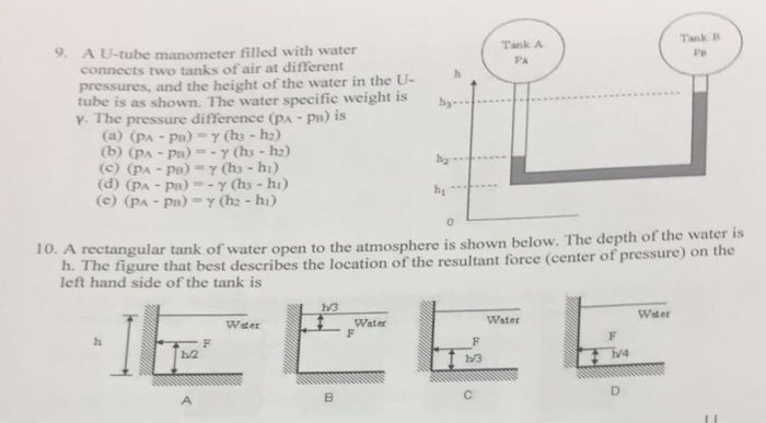 Solved: Tank A 9  A U-tube Manometer Filled With Water Con