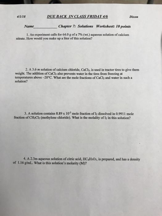 Solved 4118 In Dixon Namechapter 7 Solutions Worksheet