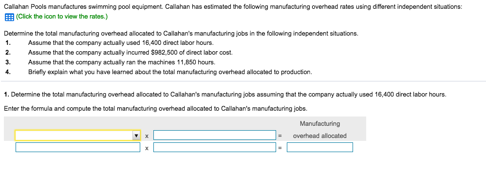 Solved: Callahan Pools Manufactures Swimming Pool Equipmen ...