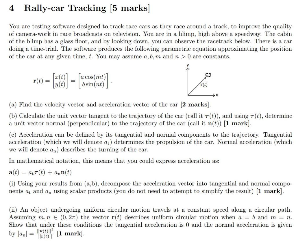 Solved: 4 Rally-car Tracking [5 Marks] You Are Testing Sof