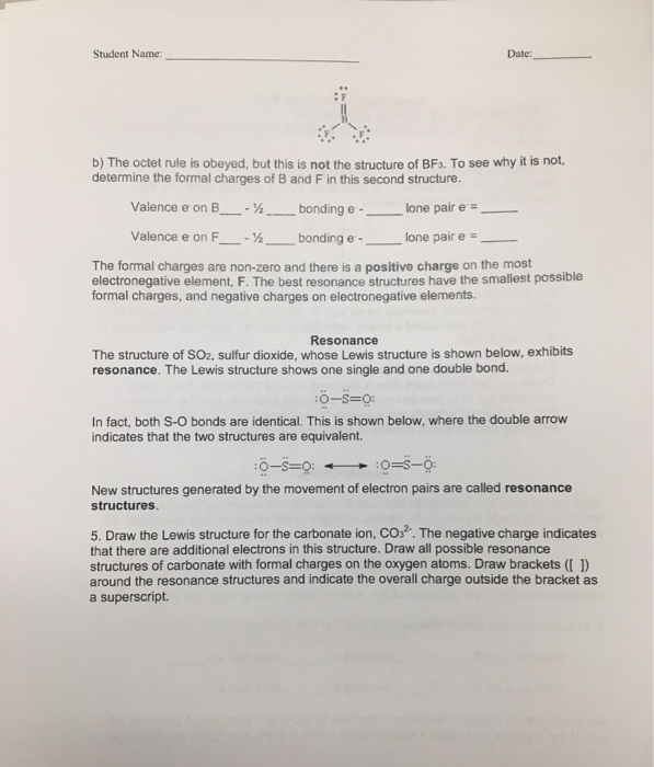 Student Name Date Lewis Structures Worksheet Gene – Lewis Structure Worksheet