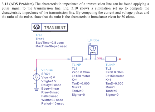 3,13 (ADS Problem) The Characteristic Impedance Of