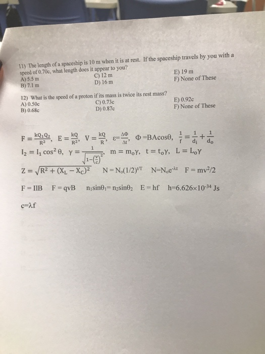 Solved: AA PHY 2054 Final ExamS Closed Book, Closed Notes