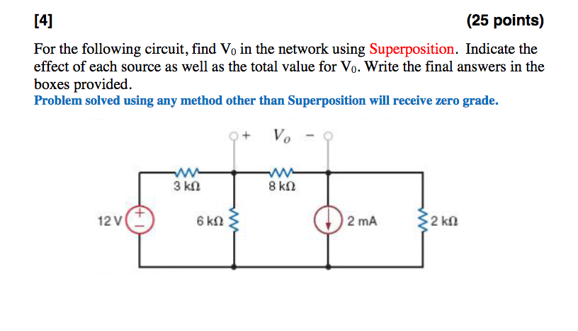 solved 25 points for the following circuit find vo in rh chegg com