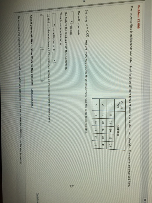 Solved: Problem 13 008 The Response Time In Milliseconds W