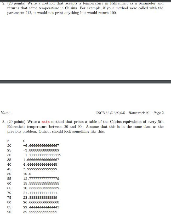 2 20 Points Write A Method That Accepts Temperature In Fahrheit As