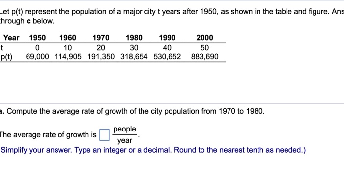 964b4432d98 .et p(t) represent the population of a major city t years after .