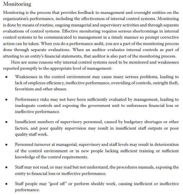 Monitoring Monitoring is the process that provides feedback to management and oversight entities on the organizations perfor
