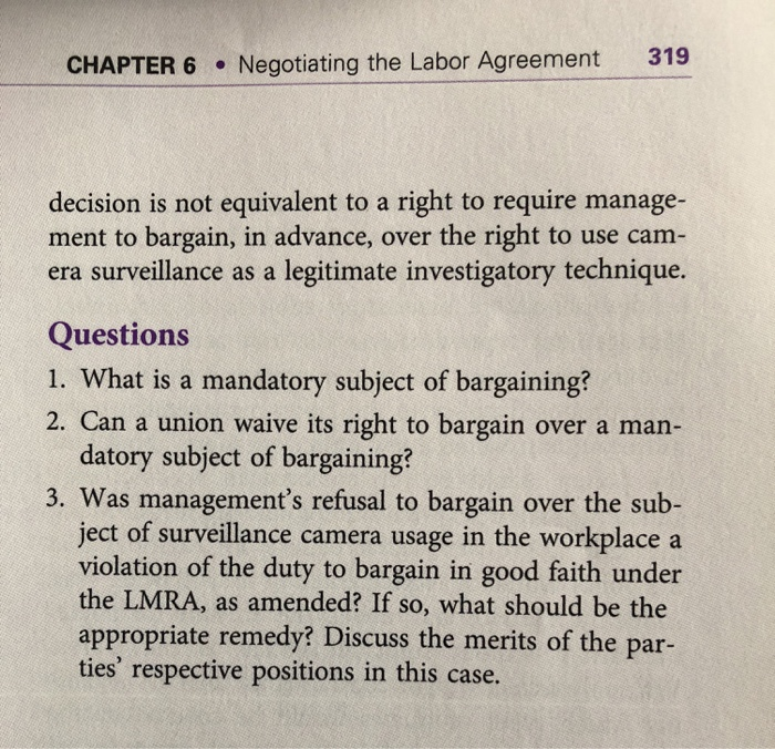Solved 319 Chapter 6 Gotiating The Labor Agreement Dec