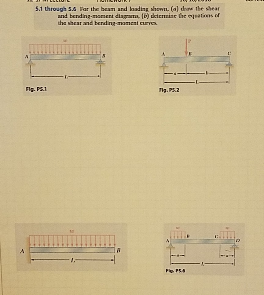 Solved 51 Through 56 For The Beam And Loading Shown A Draw Shear Bending Moment Diagrams Cheggcom