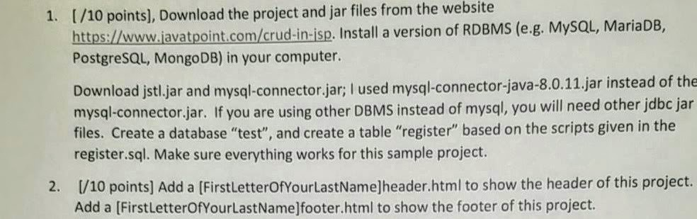 1  I/10 Points], Download The Project And Jar File