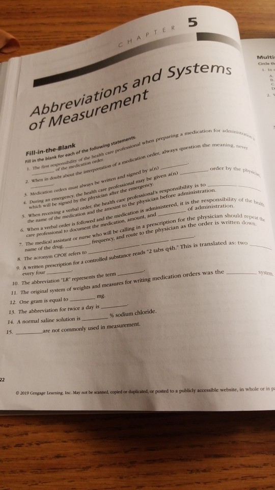Solved: 5 CHAPTER Abbreviations And Syste Of Measurement M