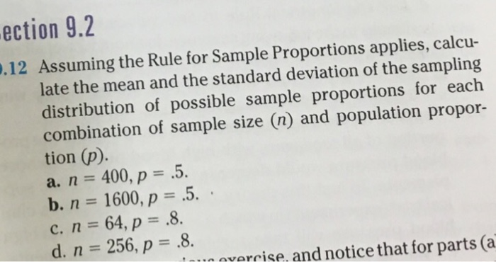 Solved Assuming The Rule For Sample Proportions Applies