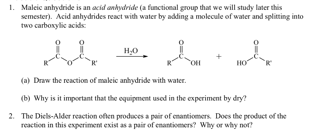 Solved: 1  Maleic Anhydride Is An Acid Anhydride (a Functi