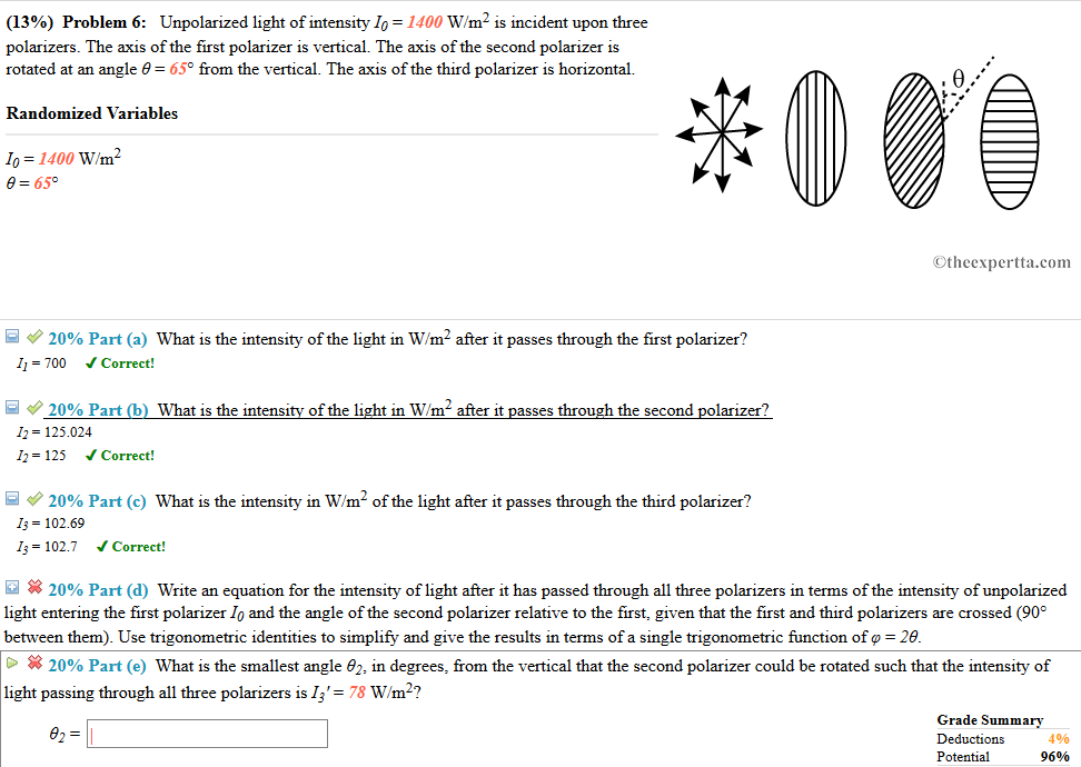 Solved 13 Problem 6 Unpolarized Light Of Intensity 10